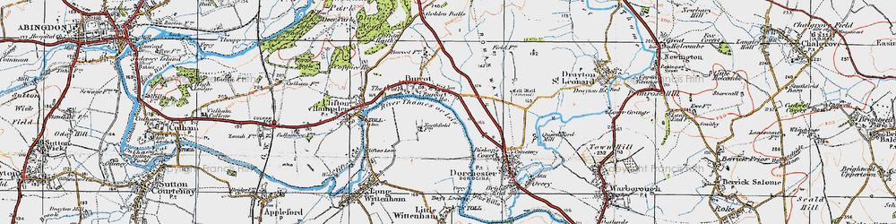 Old map of Burcot in 1919