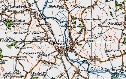 Old map of Bures in 1921