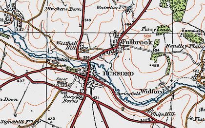 Old map of Burford in 1919