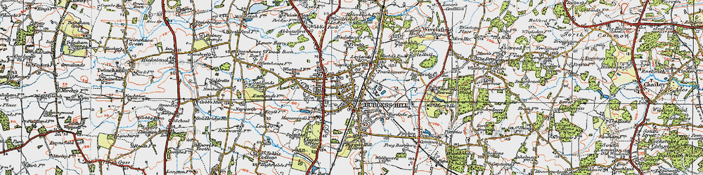 Old map of Burgess Hill in 1920