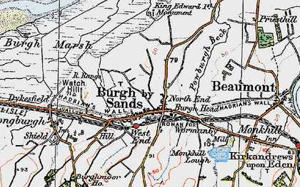 Old map of Burgh by Sands in 1925