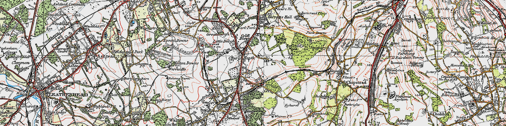 Old map of Burgh Heath in 1920