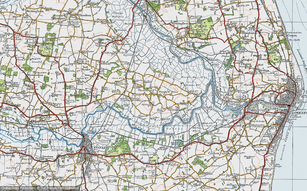 Old Map of Historic Map covering Wheatacre Marshes in 1921