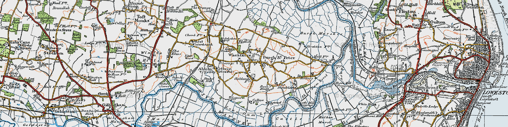 Old map of Wheatacre Marshes in 1921