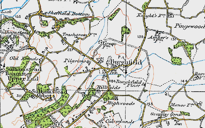 Old map of Burghfield in 1919