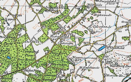 Old map of Burghfield Common in 1919