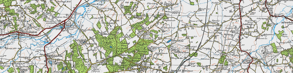 Old map of Wokefield Common in 1919