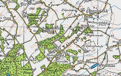 Old map of Burghfield Hill in 1919