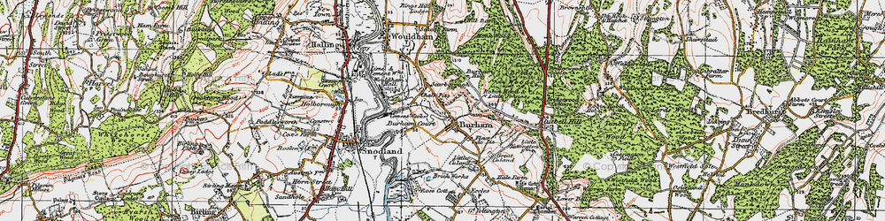 Old map of Burham in 1921