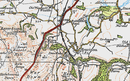 Old map of Buriton in 1919