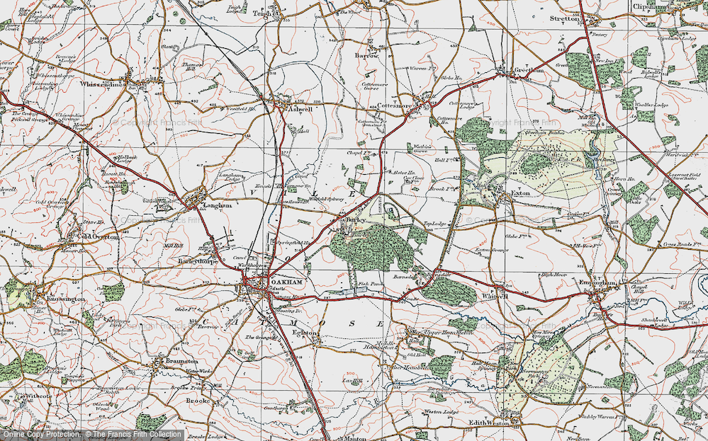 Old Map of Burley, 1921 in 1921