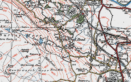 Old map of Burley Woodhead in 1925