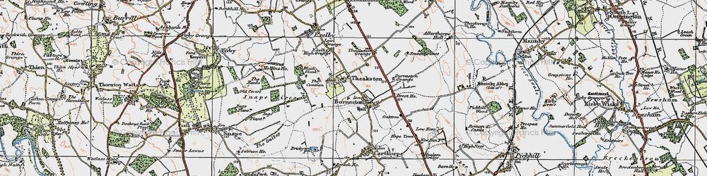 Old map of Burneston in 1925