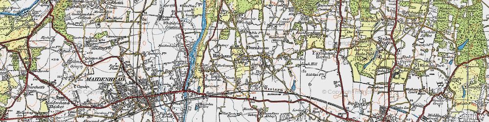 Old map of Burnham in 1920