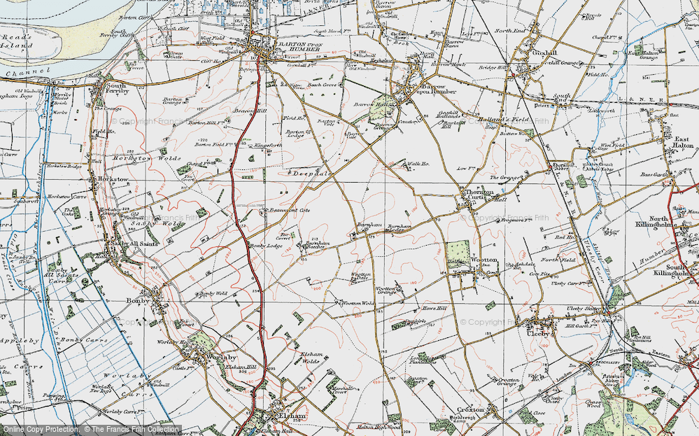 Old Map of Historic Map covering Wootton Dale in 1924