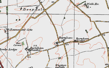 Old map of Wootton Wold in 1924