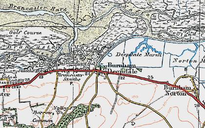 Old map of Burnham Deepdale in 1921