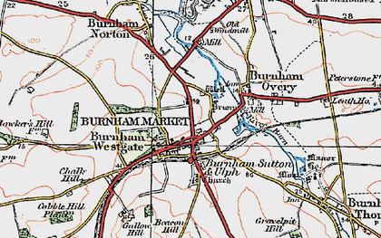 Old map of Burnham Market in 1921