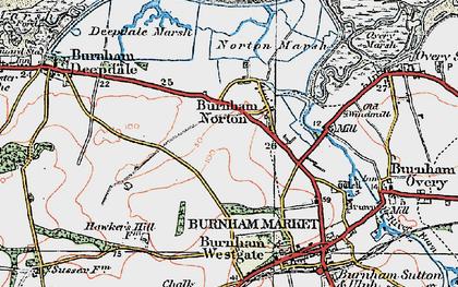 Old map of Burnham Norton in 1921