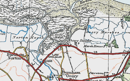 Old map of Burnham Overy Staithe in 1921