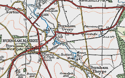 Old map of Burnham Overy Town in 1921