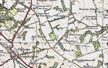 Old map of Burnhope in 1925