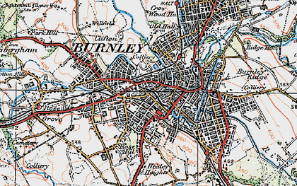 Old map of Burnley in 1924
