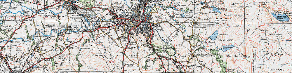 Old map of Burnley Wood in 1924