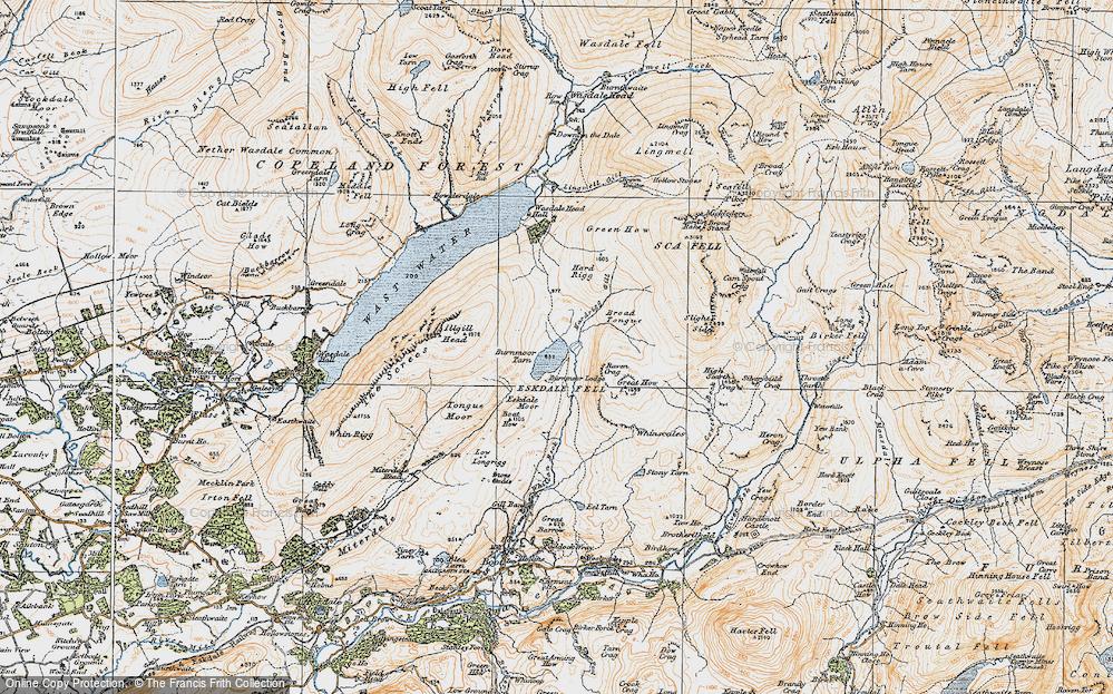 Old Map of Burnmoor Tarn, 1925 in 1925