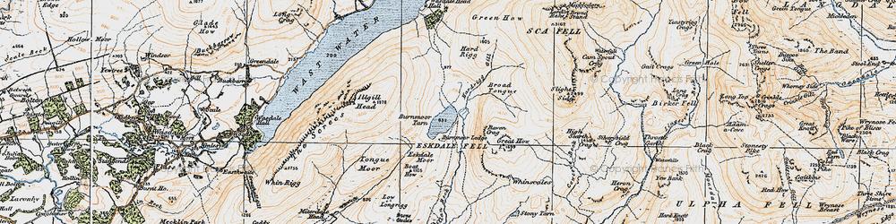 Old map of Burnmoor Tarn in 1925