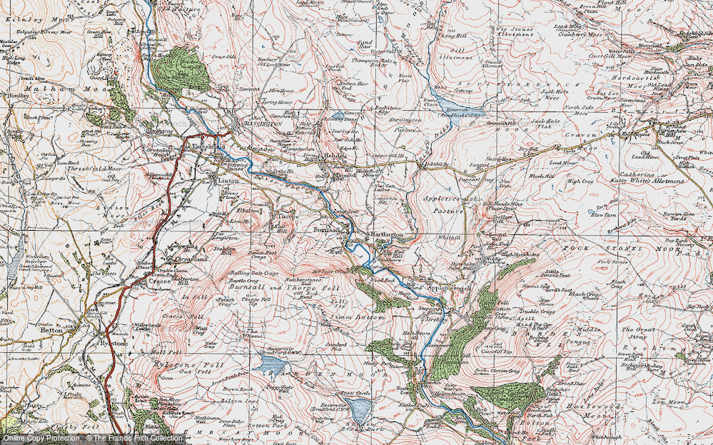 Old Map of Historic Map covering Air Scar Crags in 1925