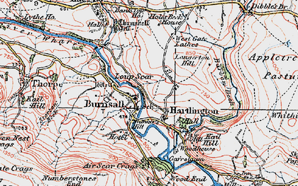 Old map of Air Scar Crags in 1925