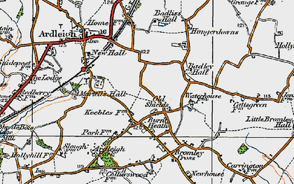 Old map of Badley Hall in 1921
