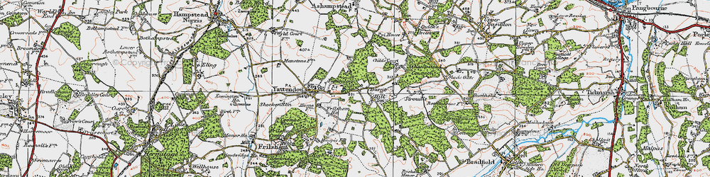 Old map of Yattendon Court in 1919