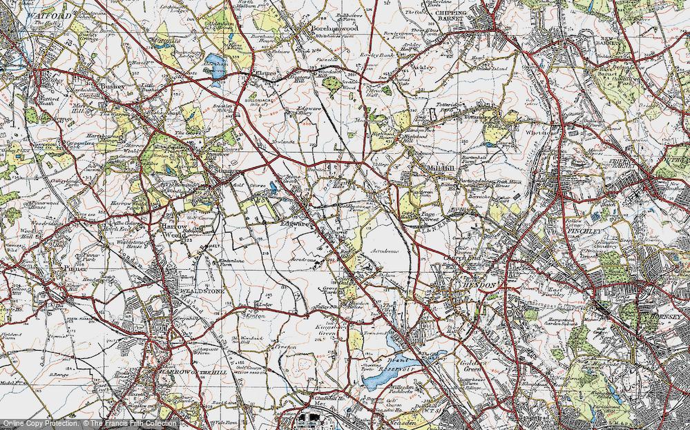 Old Map of Burnt Oak, 1920 in 1920