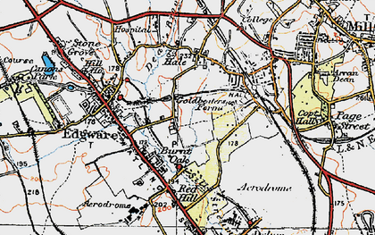 Old map of Burnt Oak in 1920