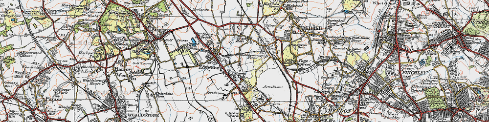 Old map of Burnt Oak in 1920
