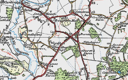Old map of Burntcommon in 1920