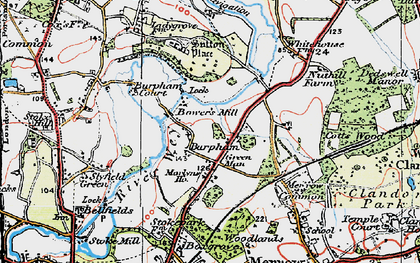 Old map of Burpham in 1920
