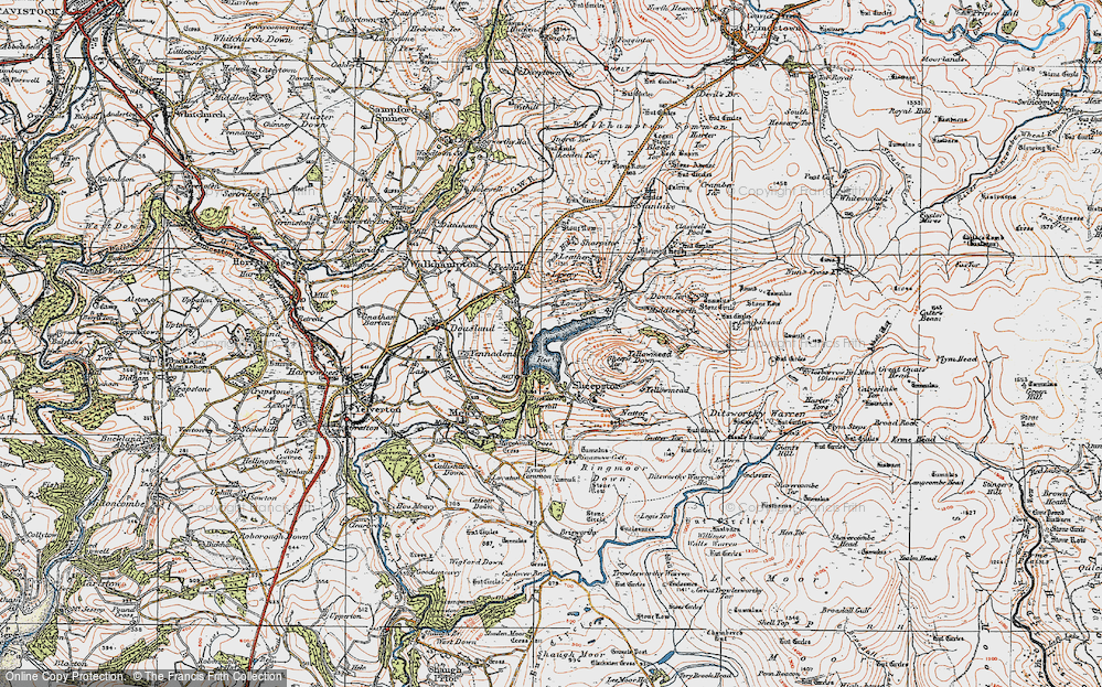 Old Map of Historic Map covering Leather Tor in 1919