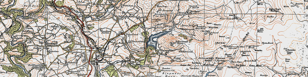 Old map of Leather Tor in 1919