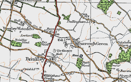Old map of Burrough Green in 1920