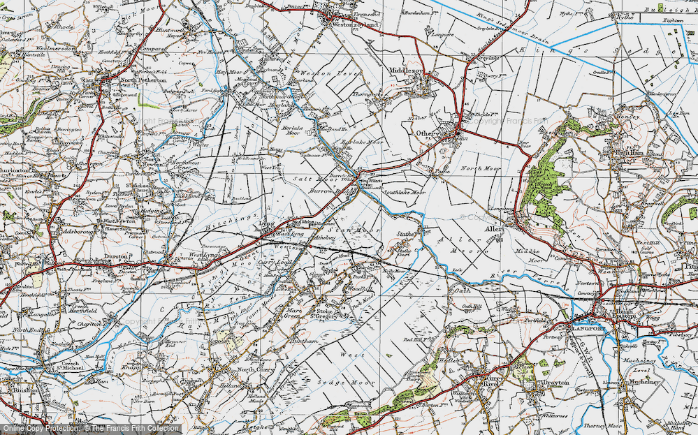 Old Map of Burrowbridge, 1919 in 1919