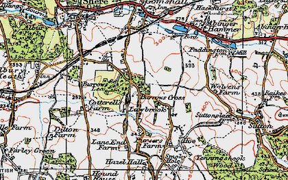 Old map of Burrows Cross in 1920