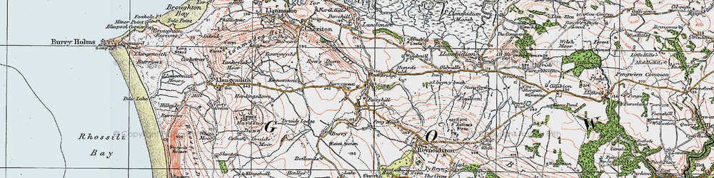 Old map of Burry Green in 1923