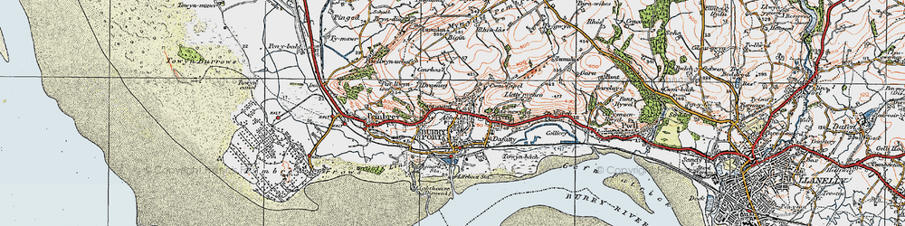 Old map of Burry Port in 1923