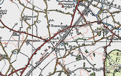 Old map of Burscough in 1923