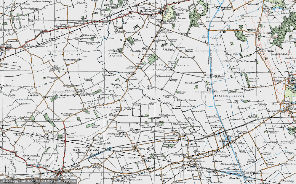 Old Map of Historic Map covering Asselby Grange in 1924