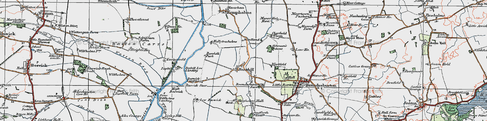 Old map of Aldermen's Gorse in 1924