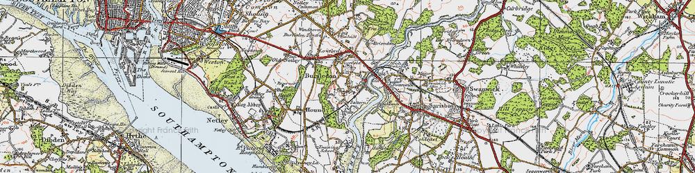 Old map of Bursledon in 1919